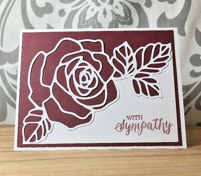With Sympathy Wine White Floral Handmade Card Envelope Vintage Look New by (Sympathy Wine)