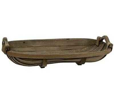 "NEW Primitive TOBACCO BASKET Tray REPRO Antique Look 21""L Brown Wood Farmhouse"