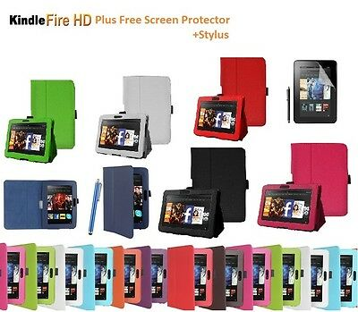 """Leather Smart Case Cover Stand for New Amazon Kindle Fire HD 7"""" with Sleep Wake"""
