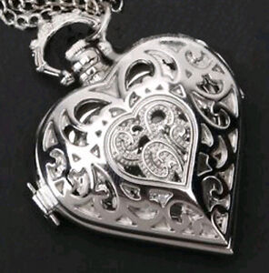 Wholesale Steampunk Vintage Antiqued Silver Heart Pocket Watch Pendant Necklace
