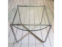 Glass and Chrome coffee / side table after Mies Van Der Rohe retro Bauhaus mid century