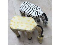 Set of plant/coffee occasional tables. Giraffe and Zebra. £25