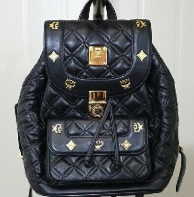 Authentic MCM Black Leather Quilting Vintage Backpack