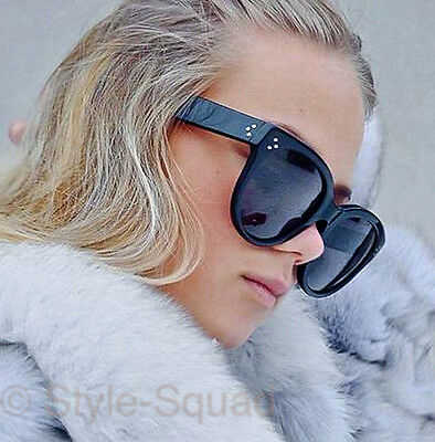 70s Large Glossy Black AUDREY Cat Eye Designer Aviator Oversized Sunglasses (Large Black Cat Eye Sunglasses)