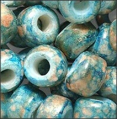 Marble Teal Color Glass Crow Beads (30)  - Marble Beads