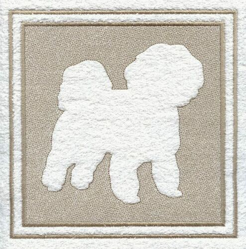 Bichon Frise Dog Embossed  White Hand Towel Set Embroidered