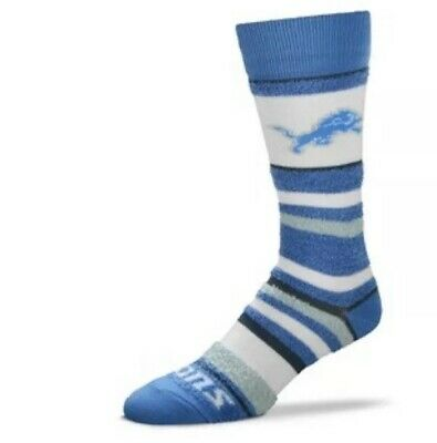 Detroit Lions NFL Women's Soft Stripe Crew Style Socks By For Bare Feet