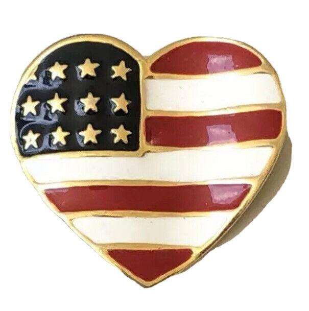Vintage Heart Red White & Blue patriotic Brooch enamel on gold tone metal Pin