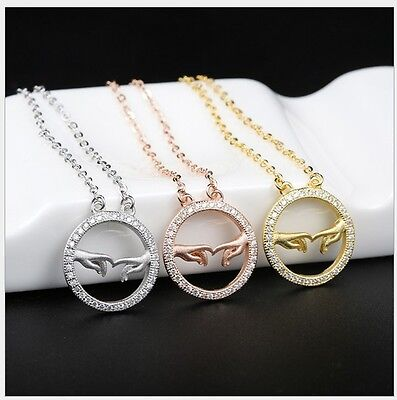 Eternity Circle Love MOM Baby Hand Family CZ Pendant Sterling Silver Necklace G9 Mom Circle Pendant