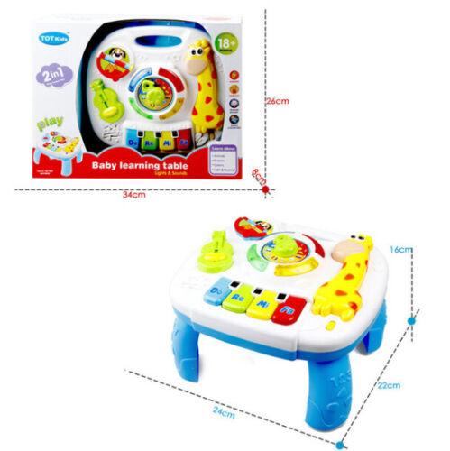 Holzspielzeug Kinder Spieltisch Lerntisch aus Holz Motorikspielzeug mit 5 Lernspielzeugen Baby Spielzeug