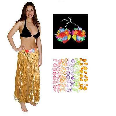 HAWAIIAN LUAU COSTUME HULA SKIRT, BRA, CARNATION LEI Tiki Party Outfit FREE SHIP](Carnation Leis)