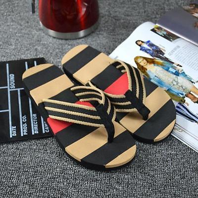 Men Home Beach Summer Stripe Flip Flops Shoes Sandals Male Slipper Flip-flops