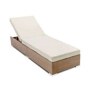 Wicker Sun Lounger with 3 Cover Sets - Brown Morley Bayswater Area Preview