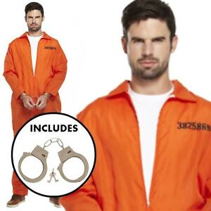 MENS PRISONER OVERALL ORANGE JUMPSUIT CONVICT STAG DO PARTY FANCY DRESS COSTUME
