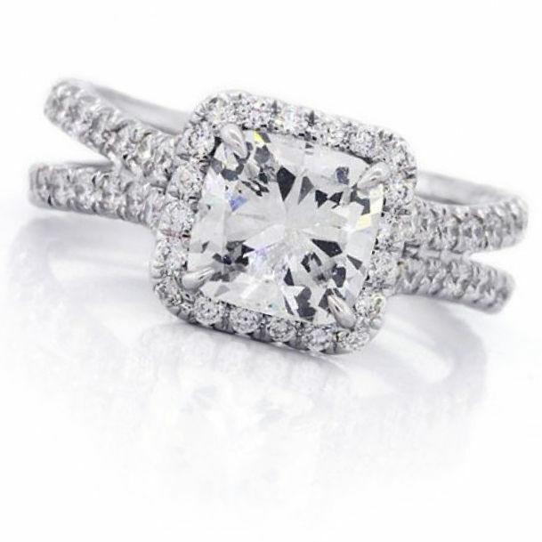 GIA Certified Diamond Engagement Ring Cushion Cut 14k White Gold 2.18 carat 4