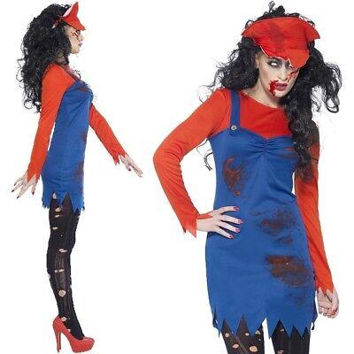 Damen Halloween Zombie Klempner Kostüm Kostüm Damen Mario Outfit - Halloween Klempner Kostüm