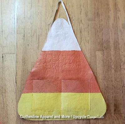 OOAK Candy Corn Costume Apron Adult 100% Recycled Plastic Handmade - Corn Costumes