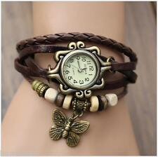 VINTAGE RETRO BEADED BRACELET LEATHER WOMEN WRIST WATCH-BUTTERFLY BROWN