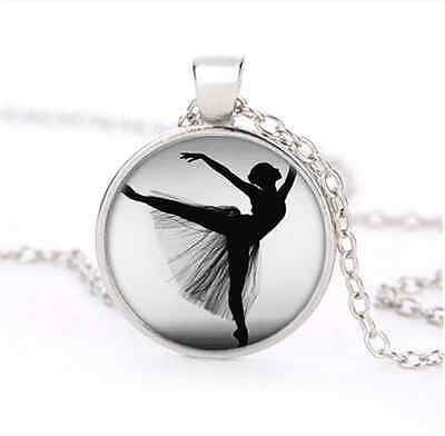 Ballet  Dance Cabochon Glass Silver Plating Necklace for woman Jewelry