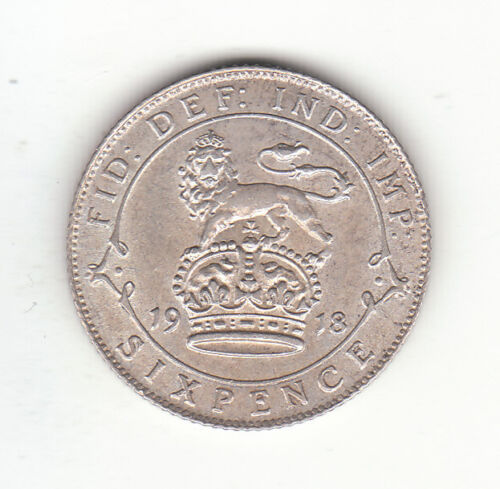 1918 Great Britain George V Silver Sixpence.  AU