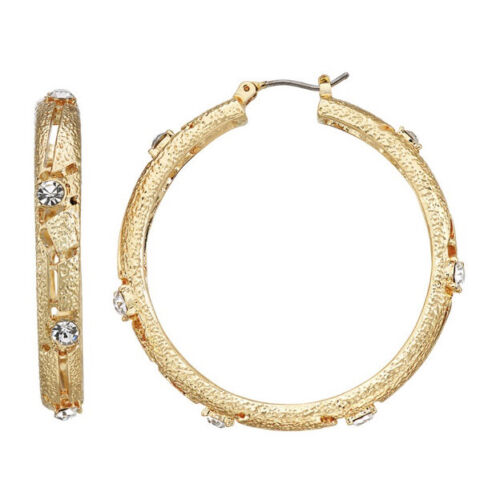 Napier Textured Gold Tone Simulated Crystal Hoop Earrings, Nickel Safe - $8.50