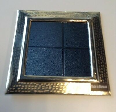 """Moroccan Wall Mirror Hand Hammered Silver Alloy Metal 11""""x11"""" Square Frame Small"""