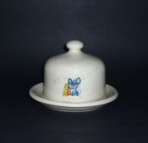 Blue Mouse Covered Cheese / Butter Dish : Excellent Condition