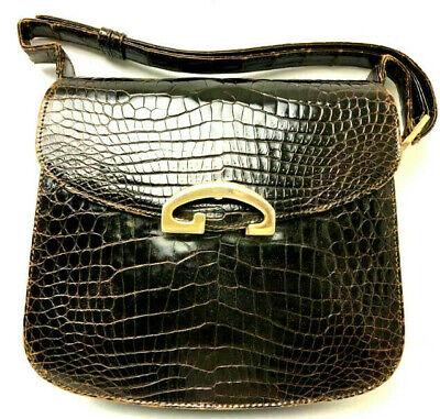 Gucci Vintage Crocodile skin Leather Handbag Purse Brown Shoulder Bag