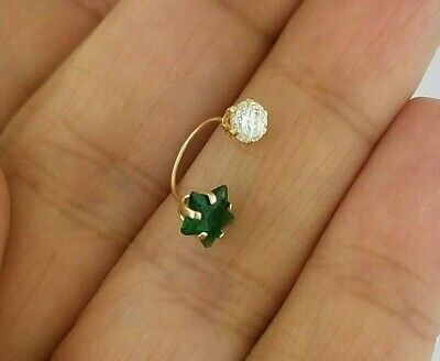 Green Emerald Star Belly Navel Ring .10 CT Body Piercing Jewelry 14k Yellow Gold - Emerald Belly Button Ring