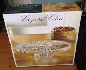 Fancy Glass Cake Stand / Chip & Dip