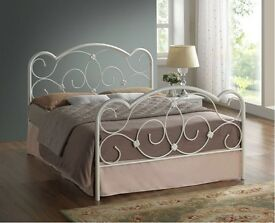 new arrival !! ATTRACTIVE DESIGN!! DOUBLE WHITE METAL BED FRAME £89 WITH MATTRESS£139 =FREE DELIVERY