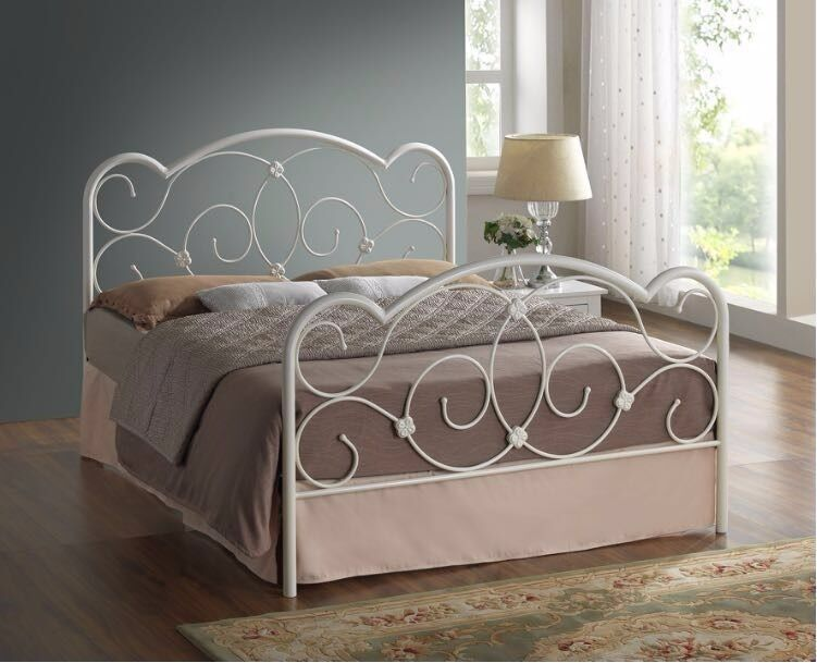 MODERN DESIGN /// DOUBLE WHITE METAL BED FRAME £89 WITH MATTRESS£139 & FREE DELIVERY