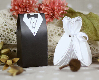 25/50/100 Wedding Favor Boxes Groom Bride Dress & Tuxedo Candy Gift Bags Shower