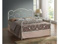 STYLISH WHITE METAL DOUBLE BED FRAME WITH MATTRESS FREE DELIVERY