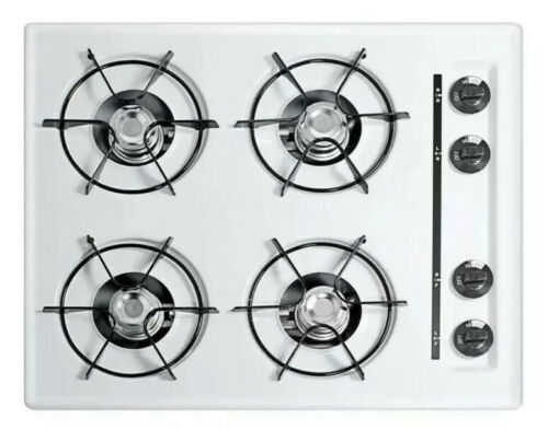 "Summit WNL033 24"" Wide Gas Cooktop in White, with Four Burne"