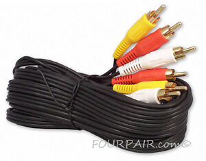 50FT 3-RCA (L + R + V) Composite AV Audio Video Cable Gold Plated Male M/M 50'