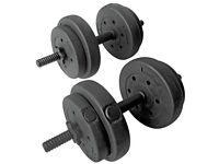 Pro Fitness Vinyl Dumbbell Weights Set - 15kg