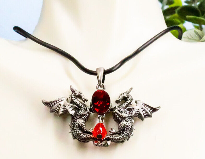 Ebros Red Saphire Dual Dragon Guardians Pendant Jewelry Necklace Lead Free
