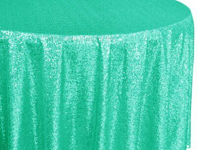 Tiffany Blue Aqua Taffeta Sequin Round Tablecloth Table Cover Linens 120