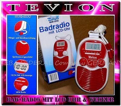 Tevion Radiowecker BDR200 Wassergeschützt Badradio Wand Duschradio LCD Rot -Weiß online kaufen