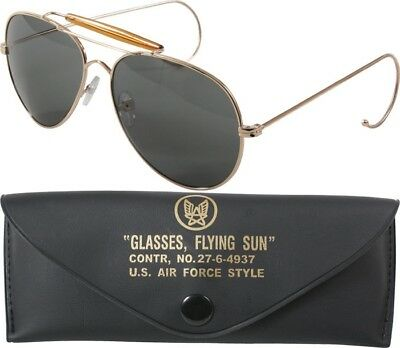 Gold Frame UV Acrylic Air Force US Style Aviators Sunglasses With (Air Force Style Sunglasses)