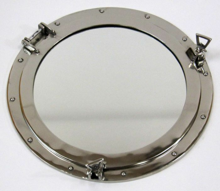 "20"" ROUND ALUMINUM CHROME FINISH PORTHOLE WITH MIRROR-NAUTICAL DECOR"