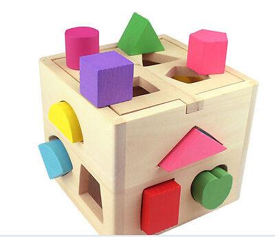 Baby Kinder Holzspielzeug Lernspielzeug Holz Klötze Steckwürfel Steckklötze Neu