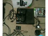 Xbox 360 E, two controllers, 5 games