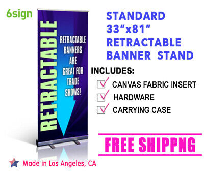 Retractable Banner Stand 33x81 Fabric Free Printing Shipping