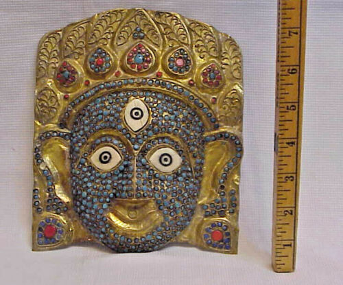Brass Enameled bead & Bone Nepal Art Face Mask  -- Asian Tribal Ethnic