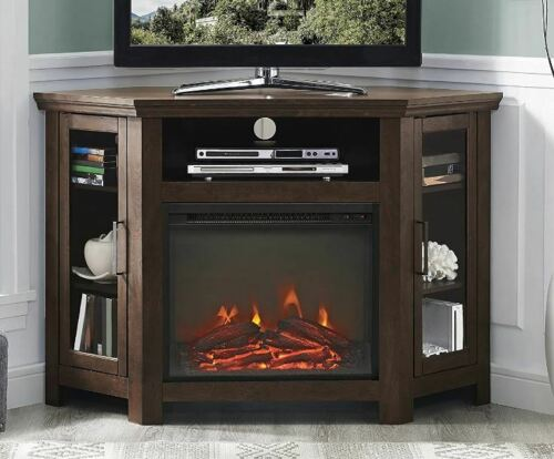 Wood Corner TV Stand with Fireplace Brown Media Entertainment Center Cabinet