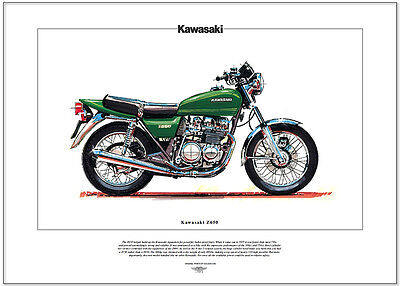 KAWASAKI Z650 - Motorcycle Fine Art Print - Japanese manufactured 650cc machine
