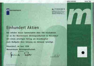 Mannesmann Düsseldorf ESSER 1998 Vodafone Arcor D2 Isis 100 Stückaktie Mobilfunk