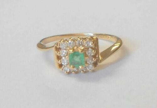 Vintage 14K Yellow Gold Emerald Solitaire & Diamond Cluster Ring Size 5.25